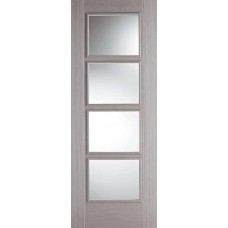 Light Grey Vancouver 4 Light Clear Glazed Door